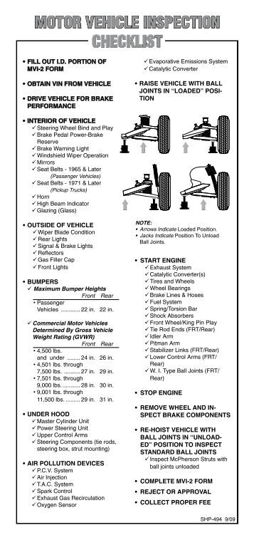 equipment vehicle pre start checklist