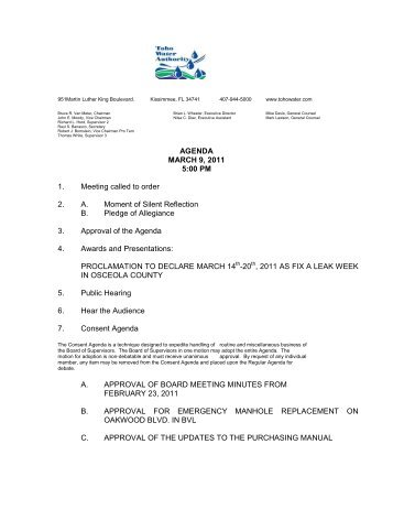 AGENDA MARCH 9, 2011 5:00 PM 1. Meeting called to order 2. A ...