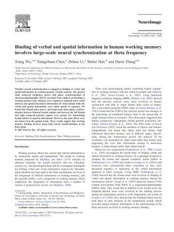 Binding of verbal and spatial information in human working memory ...
