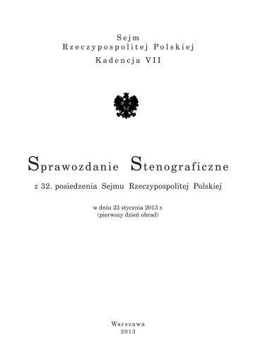 23 stycznia 2013 - Sejm Rzeczypospolitej Polskiej