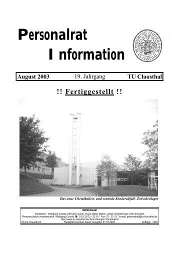 Personalrat Information August 2003 - Personalrat - TU Clausthal
