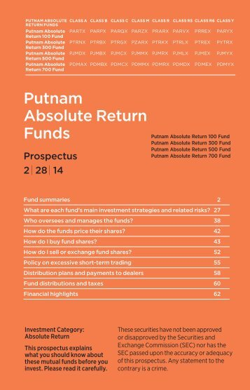Absolute Return Funds Statutory Prospectus - Putnam Investments