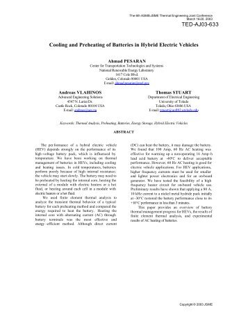 Cooling and Preheating of Batteries in Hybrid Electric Vehicles