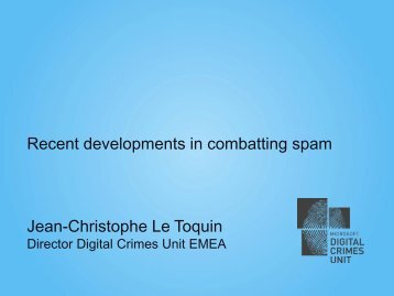 Recent developments in combatting spam Jean-Christophe ... - OECD