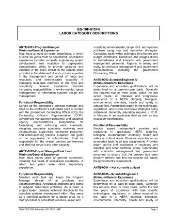 gs-10f-0154k labor category descriptions - General Dynamics ...