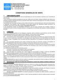 CONDITIONS GENERALES DE VENTE - BAUMANN SPRINGS