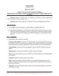 Animal Control Bylaw (23/2011) - City of Yorkton