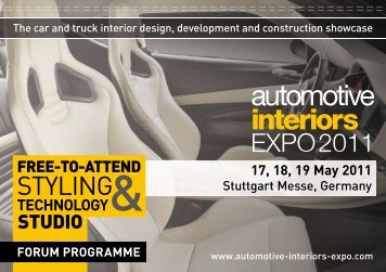 TECHNOLOGY& 17, 18, 19 May 2011 - Automotive Interiors Expo