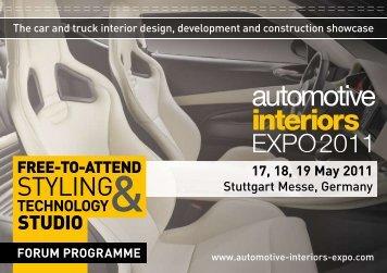 TECHNOLOGY& 17, 18, 19 May 2011 - Automotive Interiors Expo