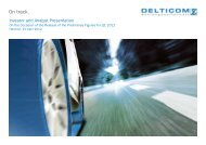 Investor and Analyst Presentation of the Preliminary ... - Delticom AG