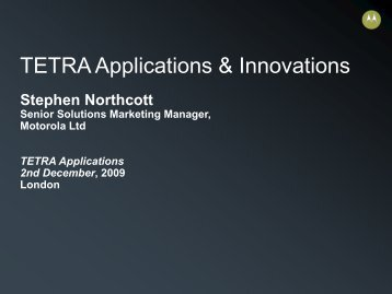 TETRA Applications & Innovations