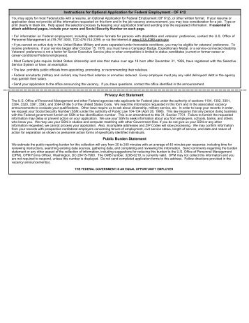 Instructions for Optional Application for Federal Employment - OF ...