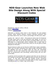 Nds-Gear Launches New Web Site Design Along ... - EPR Network
