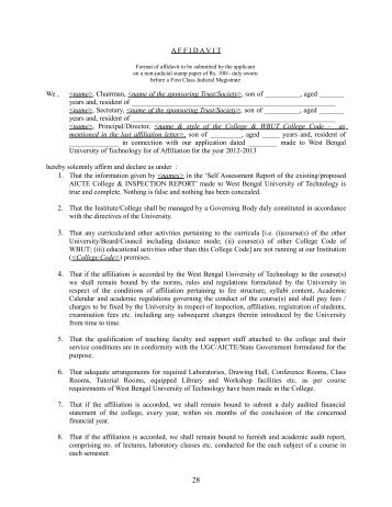 Affidavit format last two pages of application form i wbut affidavit format for aicte wbut thecheapjerseys Gallery