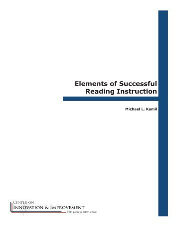 Elements of Successful Reading Instruction - Center on Innovation ...