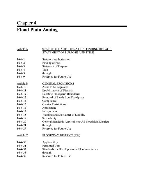 Chapter 4 Flood Plain Zoning - Columbia County