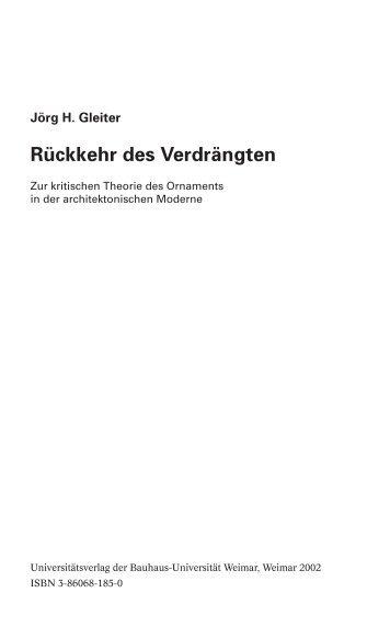 01 inhaltsverzeichnis - Architekturtheorie