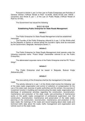 decision establishing public enterprise for state roads management