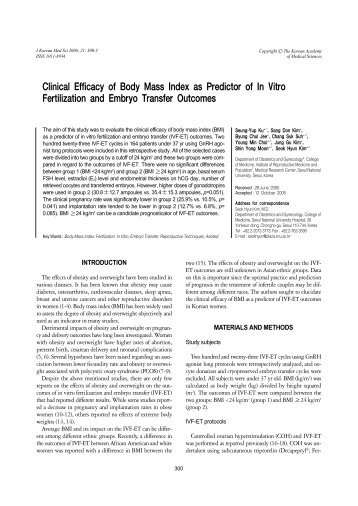 Clinical Efficacy of Body Mass Index as Predictor of In Vitro ...