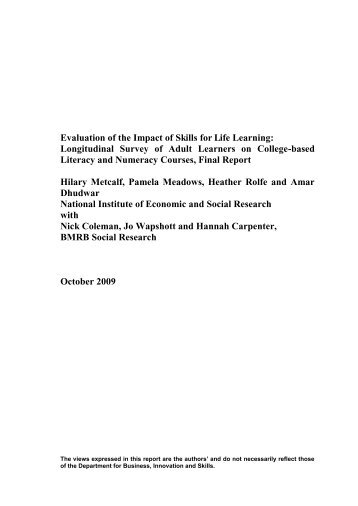 Evaluation of the Impact of Skills for Life Learning - Management ...