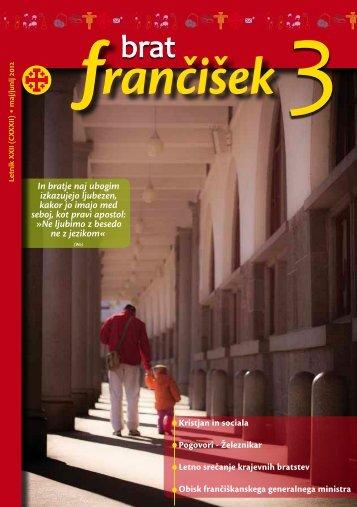 Urednikova beseda bf 3/2012 - Frančiškani v Sloveniji