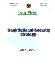 'Iraq First' -- Iraqi National Security Strategy 2007 -- 2010