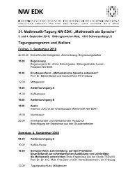 "31. Mathematik-Tagung NW EDK: ""Mathematik als ... - WOLFsWEB"