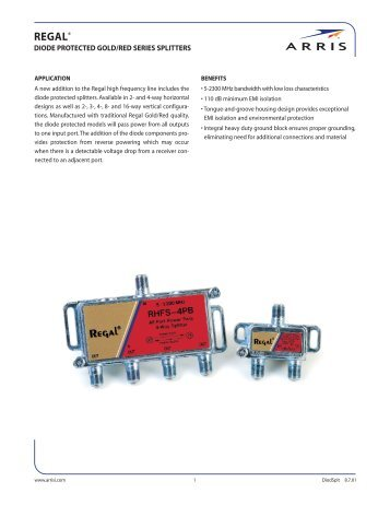 Regal Diode Protected Gold/Red Series Splitters Spec Sheet - Arris