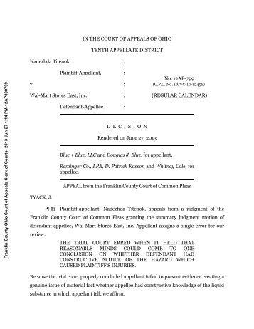 Nadezhda Titenok v. Wal-Mart Stores, Inc. - Reminger