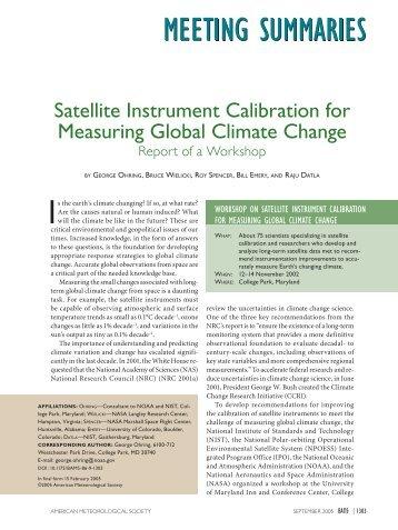 Satellite Instrument Calibration for Measuring Global Climate Change