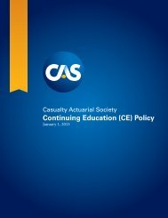 Cas Continuing Education (CE) Policy - Casualty Actuarial Society