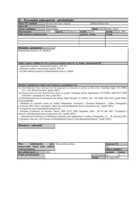 2008 - Rozšíření akreditace bakalářského studijního programu ...