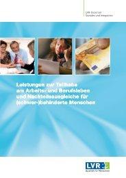 Leistungen zur Teilhabe am Arbeits- und Berufsleben und ...