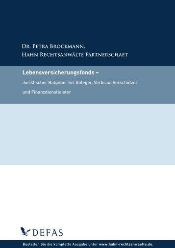 Lebensversicherungsfonds – - Hahn Rechtsanwälte Partnerschaft