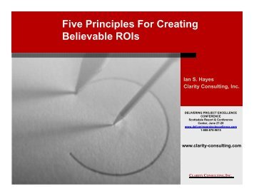 Five Principles For Creating Believable ROIs - Clarity Consulting