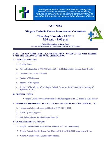 November 10, 2011 - Niagara Catholic Parent Involvement ...
