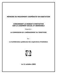 MÉMOIRE DU MOUVEMENT COOPÉRATIF EN HABITATION ...