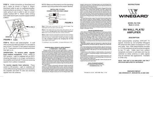 RV WALL PLATE/ AMPLIFIER - Winegard