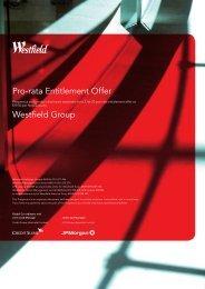 Pro-rata Entitlement Offer Westfield Group