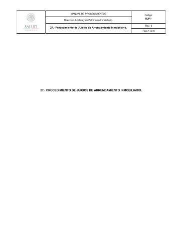 27.- procedimiento de juicios de arrendamiento inmobiliario. - Inicio