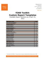 fi360 Toolkit: Custom Report Templates