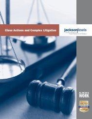 Class Actions and Complex Litigation Brochure - Jackson Lewis