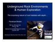 Underground Rock Environments & Human Exploration