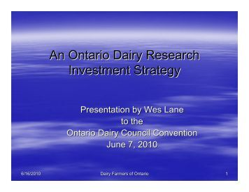 An Ontario Dairy Research Investment Strategy - Dairy Farmers of ...