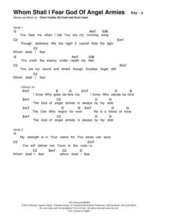 Whom Shall I Fear (God Of Angel Armies)-Chris ... - Christian Lyrics