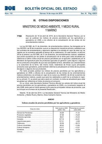 19-04-2010 con índices de 2009 - Ministerio de Agricultura ...