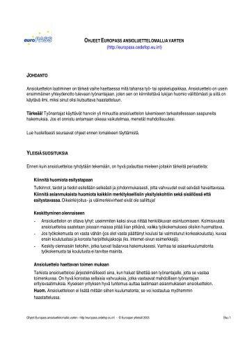 (http://europass.cedefop.eu.int) Ansioluettelon laatiminen on tärkeä ...