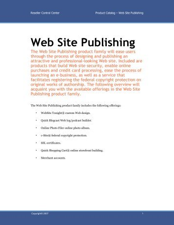 Web Site Publishing - Dsteck
