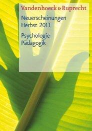 Neuerscheinungen Herbst 2011 Psychologie Pädagogik