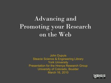 Promoting your research on the Web - YorkSpace - York University